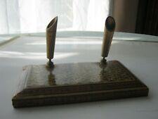 Antique wood and brass desk pen holder. V.Good condition