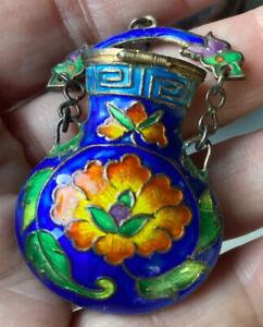 ANTIQUE Silver Enameled Amphora CHINESE Pendant