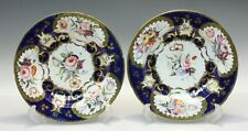 Pair Early & Lavish Derby Related Bowls Hand Done Florals & Gilt c 1830