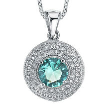 925 Sterling Silver Aquamarine CZ pendant Necklace set with Pave cubic zirconias