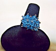~ 4.5 TCW  Swiss Blue Briolette Bead Natural Topaz 925 Sterling Silver Ring 7