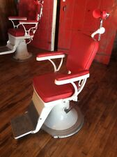 Refurbished Antique Optometrist's Chair in White w Red Vinyl #8397