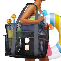 "Extra Large Summer Beach Mesh Bag Shoulder Picnic Tote w/Zip Pocket XL 28""x18"""