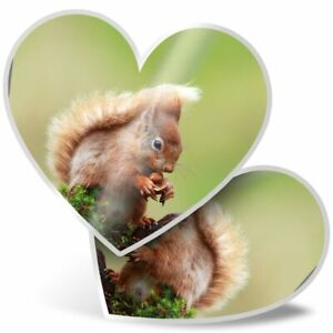 2 x Heart Stickers 7.5 cm - Cute Red Squirrel Wild Animal  #15690