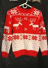 NWT Ugly Christmas Sweater Women's -(X Small) Reindeer  Crewneck Vivid Red White