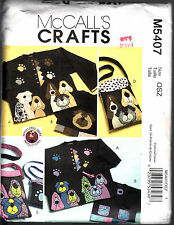 MCCALL'S CRAFTS SEWING PATTERN #M5407 DOG APPLIQUES AND TOTES