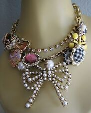 "BETSEY JOHNSON ""VINTAGE BETSEY"" PEARL BOW CAT BEAR CHARM STATEMENT NECKLACE~RARE"