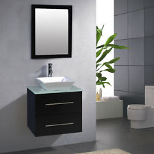 "24"" Bathroom Ceramic Porcelain Sink Wall Mount Cabinet Vanity w/Mirror Faucet"