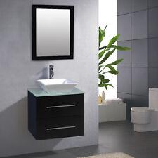 "24"" Bathroom Ceramic Porcelain Sink Wall Mount Cabinet Vanity w/Mirror Faucet"