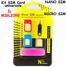 KIT per SCHEDA SMARTPHONE Sim CARD Nanosim MICRO Nano CONVERTITORE Adattatore