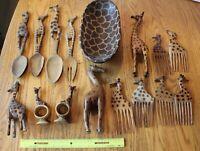 Handmade African Wooden Art Lot of Giraffe Vintage Spoon Comb Figures Salad bowl