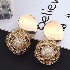 Simple Retro Geometric Woven Round Gold Ball Faux Pearl Women Dangle Earring