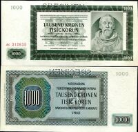 BOHEMIA & MORAVIA 1000 1,000 KORUN 1942 P 15 SPECIMEN UNC