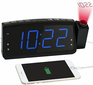 Radiowecker mit Projektion LED  USB FM UKW Digital dimmbar Tischuhr Alarm DE