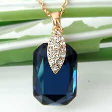 Navachi Square Sapphire Blue Zircon 18K GP Crystal  Necklace Pendant BH6024