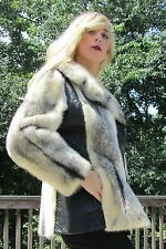 White Cross Mink with Black Leather Spy Short Coat Size M So Beautiful!