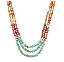 Multi-Color Triple Strand Bead Necklace