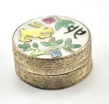 Vintage Chinese Shard Box Tibetan Silver Porcelain Jewelry Mirror Bunny Rabbit