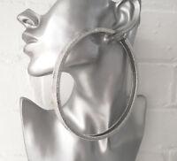 HUGE 12cm SILVER tone BIG CHUNKY SQUARE TUBE hoop earrings BIG - MASSIVE HOOPS B