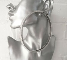 HUGE 12cm SILVER tone BIG CHUNKY SQUARE TUBE hoop earrings BIG - MASSIVE HOOPS B
