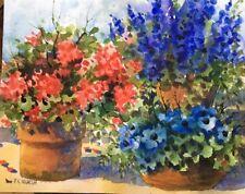 Original Loose Watercolor Painting 8X10 Terra Cotta Pots Geranium Pamela Wilhelm