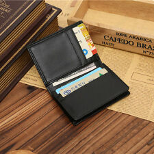 Men's Mini Leather Wallet Bifold ID Credit Card Holder Purse Money Clip Black