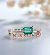 2.21Ct Emerald Cut Green Emerald Engagement Bridal Ring Set 14K Rose Gold Finish