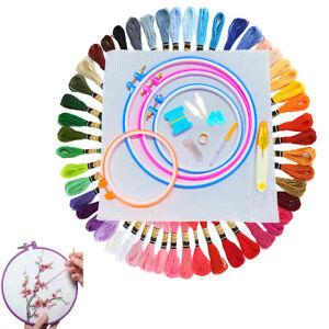 104 Beginner Cross Stitch Kit Colorful Thread Embroidery Tool Bundle w/ Hoop Set