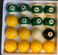 "Pool balls 2"" - 7 x yellow  ,7 x stripe Green no 14   ,8 ball + 1 7/8"" cue ball"