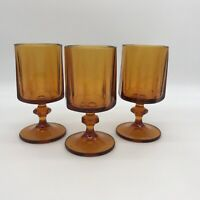 VINTAGE AMBER GOBLET NOUVEAU LINE BY COLONY GLASS/ INDIANA GLASS 1960'S