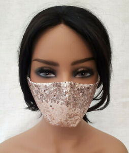 Champagne Sequinned Face Mask