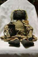 """Primitive Folk Art Black Cloth Doll Olde Crow """"Chloe"""" Basket+Crow"""