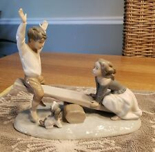 Lladro #4867 - See Saw Boy & Girl With Dog Friends - Retired Figurine - Perfect