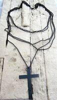 multi lyer gothic kette nickelfrei schwarzes metall schwarzes kreuz neu
