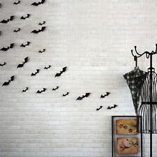 Portable 12pcs Black 3D DIY PVC Bat Wall Sticker Decal Home Halloween Decoration