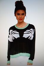 $200 New Townsen M/L Color Block Sweater Palm Leaves Light weight Black White