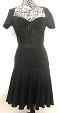 Alexander McQueen Women Dress Size M NWT Black Wool Blend Metallic