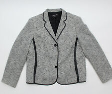 Jones New York Womens Blazer Size 16 Cream Black Tweed Faux Leather Trim Wool