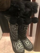 Steve Madden Black White Winter Snow Calf Boots P Julien Shoes Size 9.5