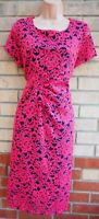 MARKS SPENCER PINK BLUE LACE SHORT SLEEVE BODYCON MIDI PENCIL FORMAL DRESS 20