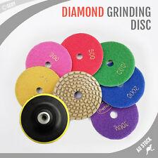 "8 pcs 4"" Diamond Polishing Pads Grinding Disc Hook Loop Granite Marble Benchtop"