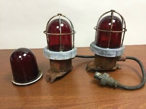 2 Vintage RED GLOBE Industrial Explosion Proof Cage Lights w/ Extra Red Glass