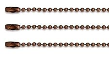 "LOT 50 BALL CHAIN Necklaces 24"" Length 2.4mm Bead #3 ~ Antique Copper Finish"