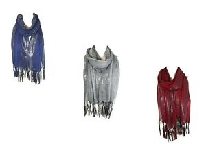 Women Net Scarf Shawl Stole Cover Up with Glitter Lurex Borders 12 Colours (CKT)