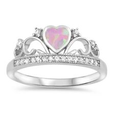 Sterling Silver 925 PRINCESS CROWN W/ HEART DESIGN PROMISE CZ RING SIZES 4-10