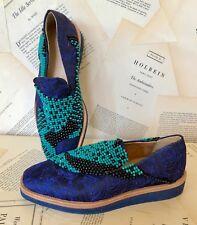 NEW Free People blue Jacquard Turquoise Black Beaded Slip On Shoe Loafers 37/7