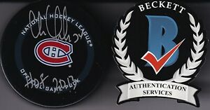 """BECKETT CHRIS CHELIOS """"HOF 2013"""" SIGNED MONTREAL CANADIENS REAL GAME PUCK K78965"""