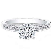 Solid White Gold Ring Size 6 6.5 8 0.64 Ct Round Cut Real Diamond Engagement 14K