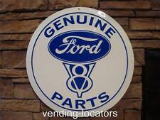 """Ford Genuine Parts 24"""" Embossed Metal Tin Plaque/Sign Round Garage Man Cave"""