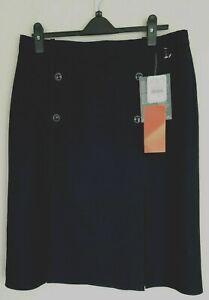 M&S Vintage St Michael Navy Blue Flat Knife pleat pure wool Ladies Skirt UK20